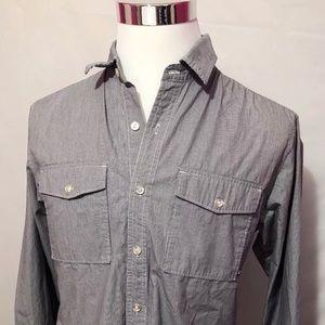 Nike 6.0 Mens Gray Button Front Shirt SZ M